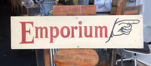 """Emporium"" Wood Sign"