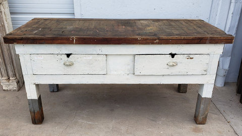 2 Drawer White Farmhouse Work Bench