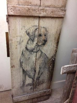 Barn Door with hand Painted Dog