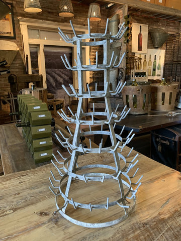 French Vintage 7 Tier Wine Bottle Drying Rack