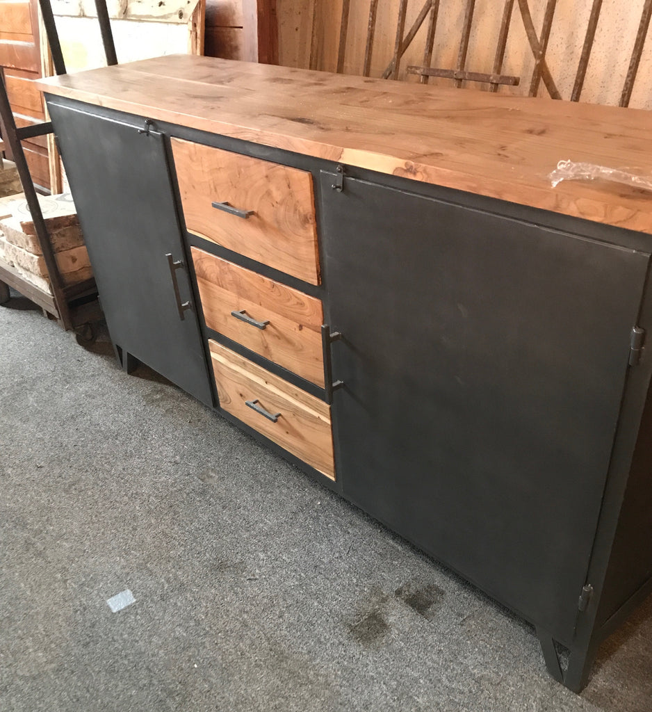 Black Metal & Wood Sideboard
