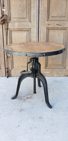 Wooden Top Crank Bistro Table