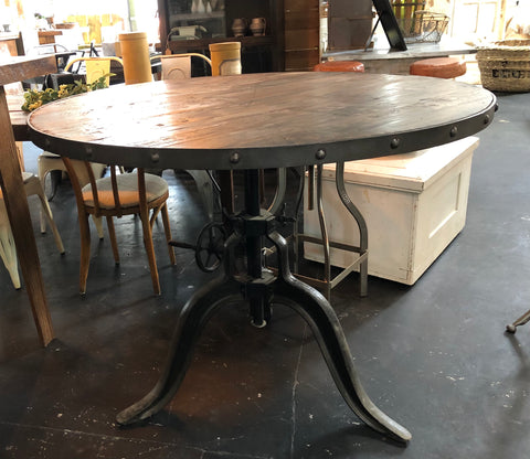Wooden Top Crank Adjustable Table