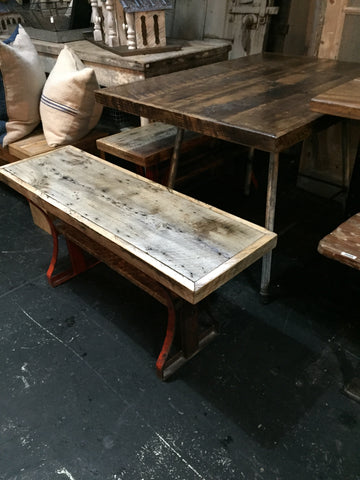 Wood and Metal Table with Benches