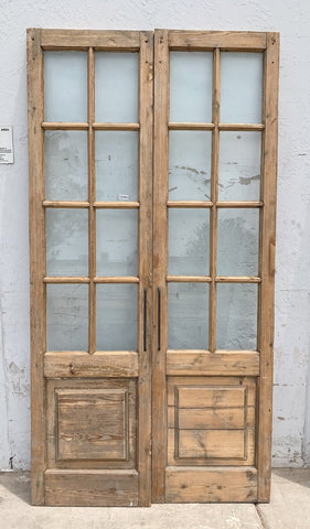 Pair of 8 Lite White & Natural Wood French Doors