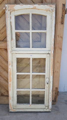 10 Pane White Wood Window with Transom