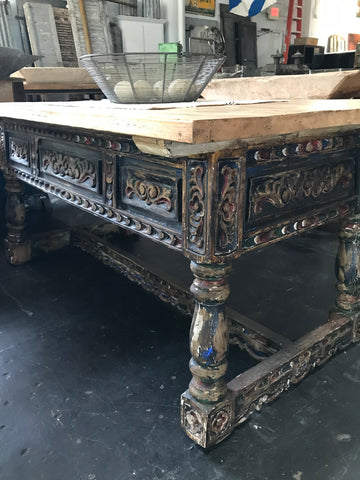 Wooden Table with Carved Base and Legs