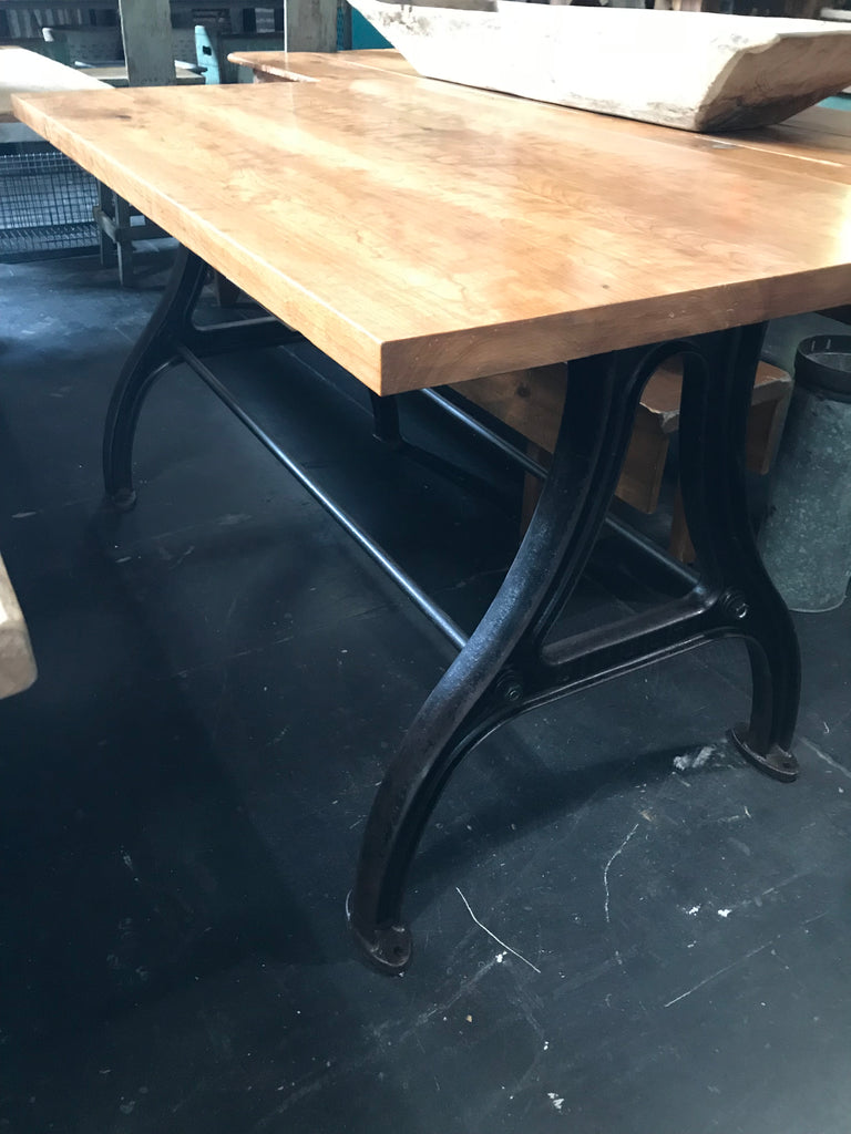 Wood Table with Industrial Black Metal Base