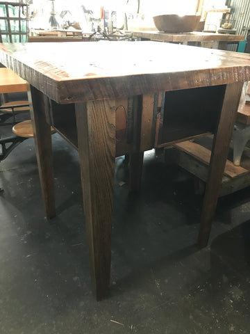 Dark Wood Square Bar Height Table with 4 Cubbies