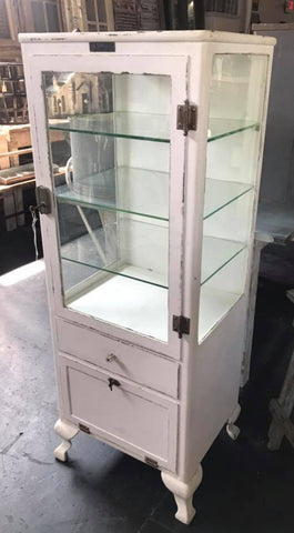 Vintage White Metal Medical Cabinet with Glass Shelves