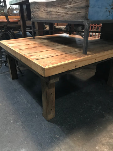 Large square light wood coffee table