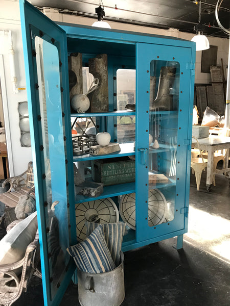 Blue metal steel cabinet