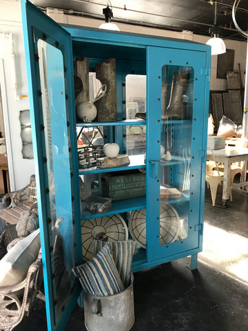 Industrial Blue Metal Cabinet