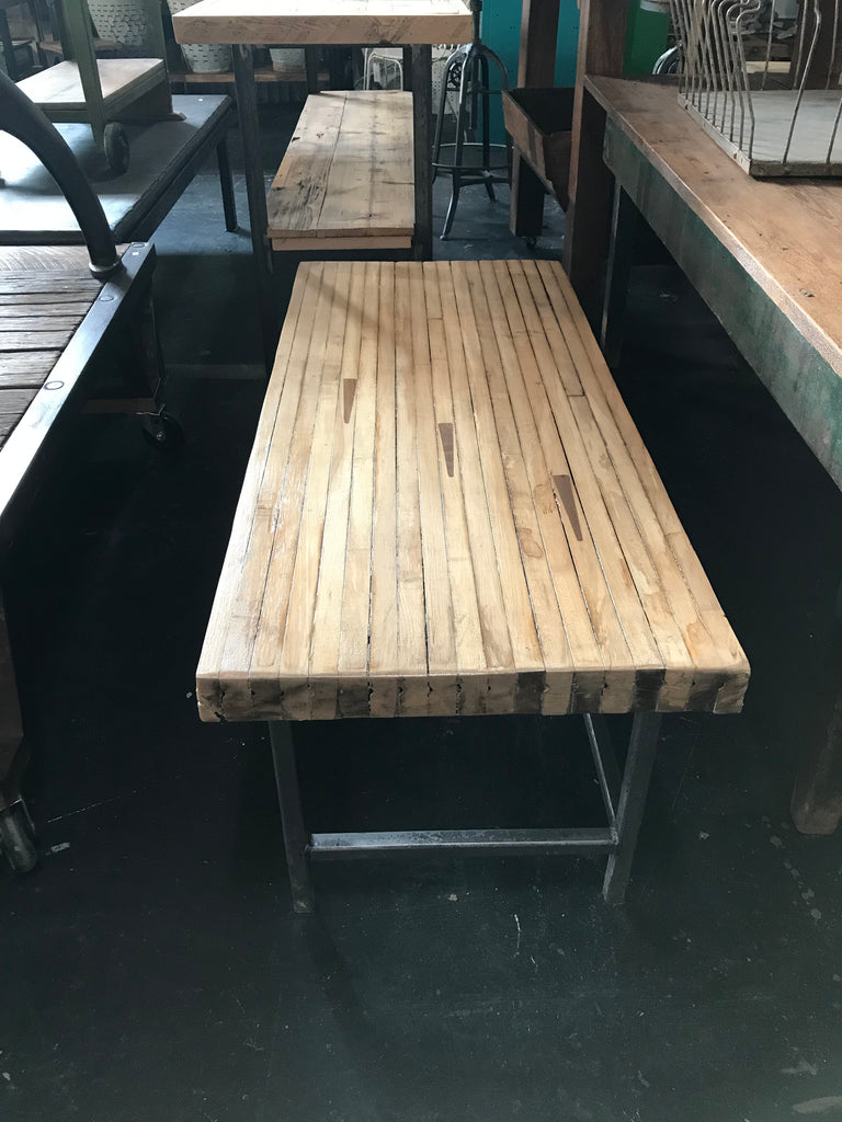Bowling Alley Wood Coffee Table with Industrial Metal Legs