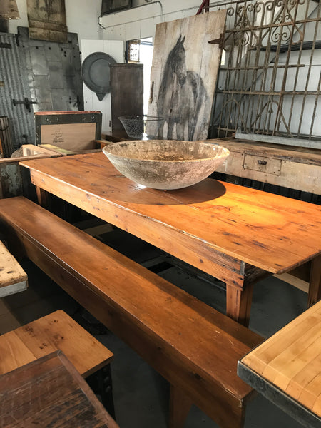 Large wood table with 2 matching benches