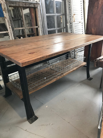 Wood Table with Black Industrial Metal Legs