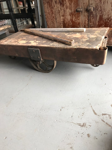 Metal Table/Cart with Center and Rear Wheels