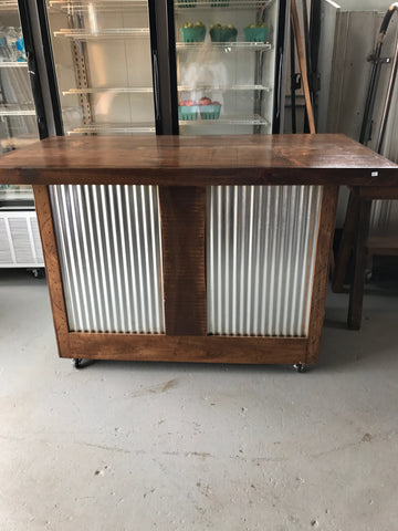 Wood Bar with Corrugated Metal Panels on Wheels