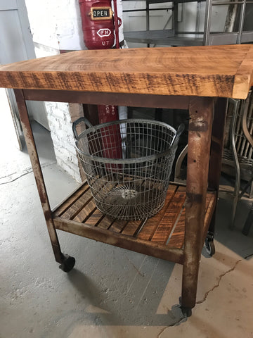 small wood table on wheels