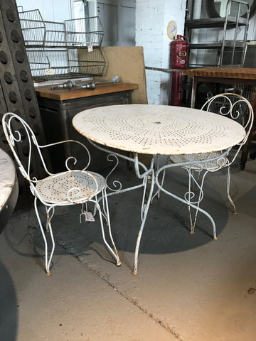 White Metal Table and Chair Set from France