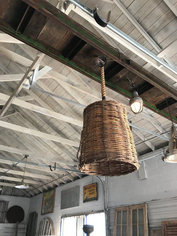 Wicker hanging light