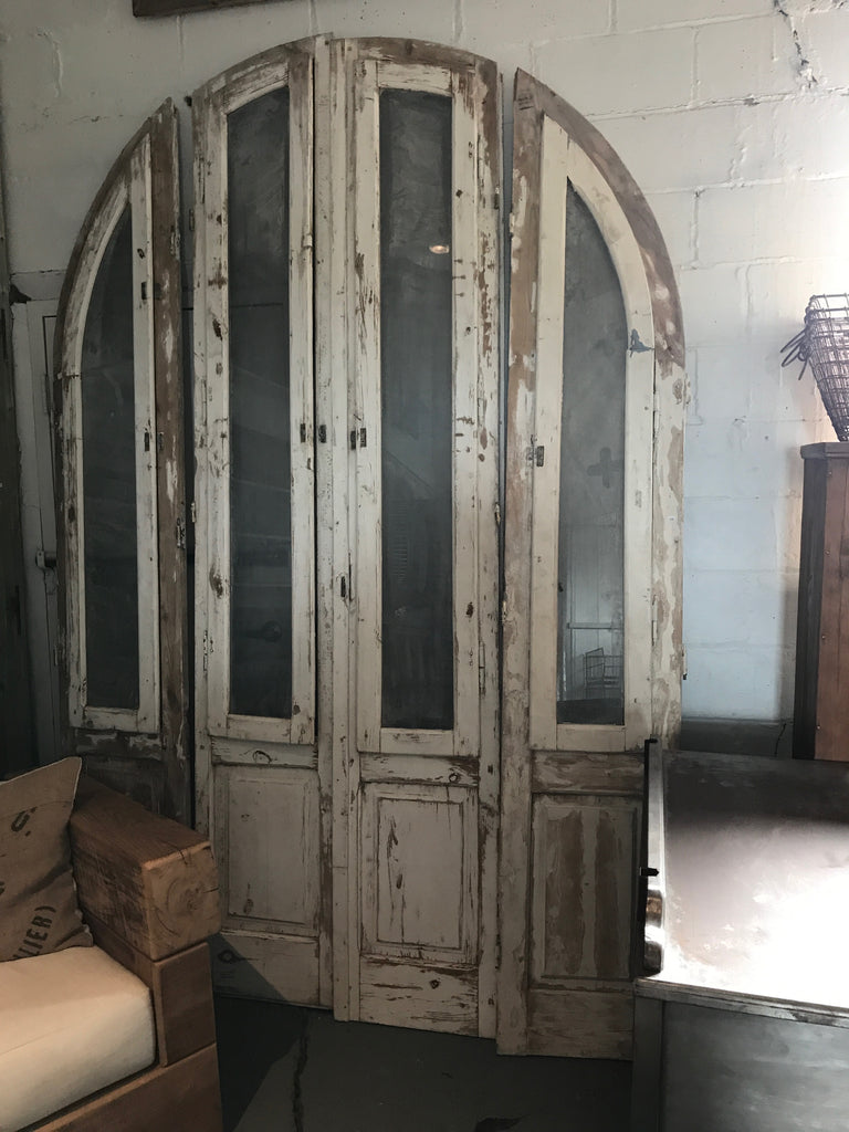 Wood doors with glass large set of 4