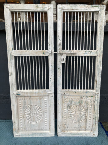 Pair of Decorative Wooden Doors, White Washed with Iron Inserts and Latch
