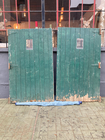 Green & White Carriage Barn Door