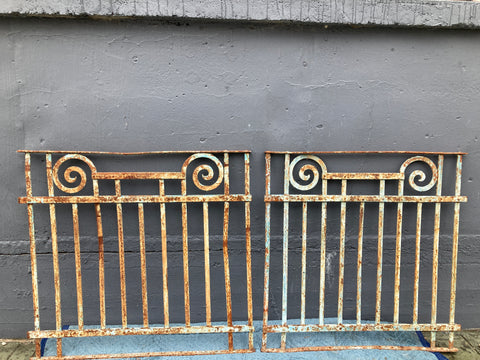 Iron Fence Panel, Chippy Teal Paint, Swirl Design