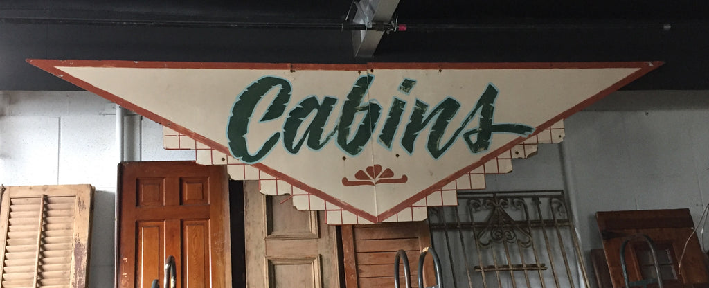 "Large ""Cabins"" Wooden Sign"