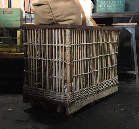 "Factory Basket/Trolley, ""Panier Roulant"" on Wheels"
