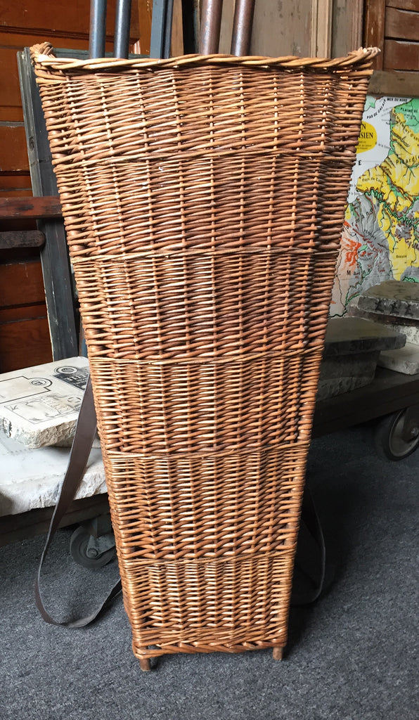 Wicker Grape Harvest Basket with Leather Straps