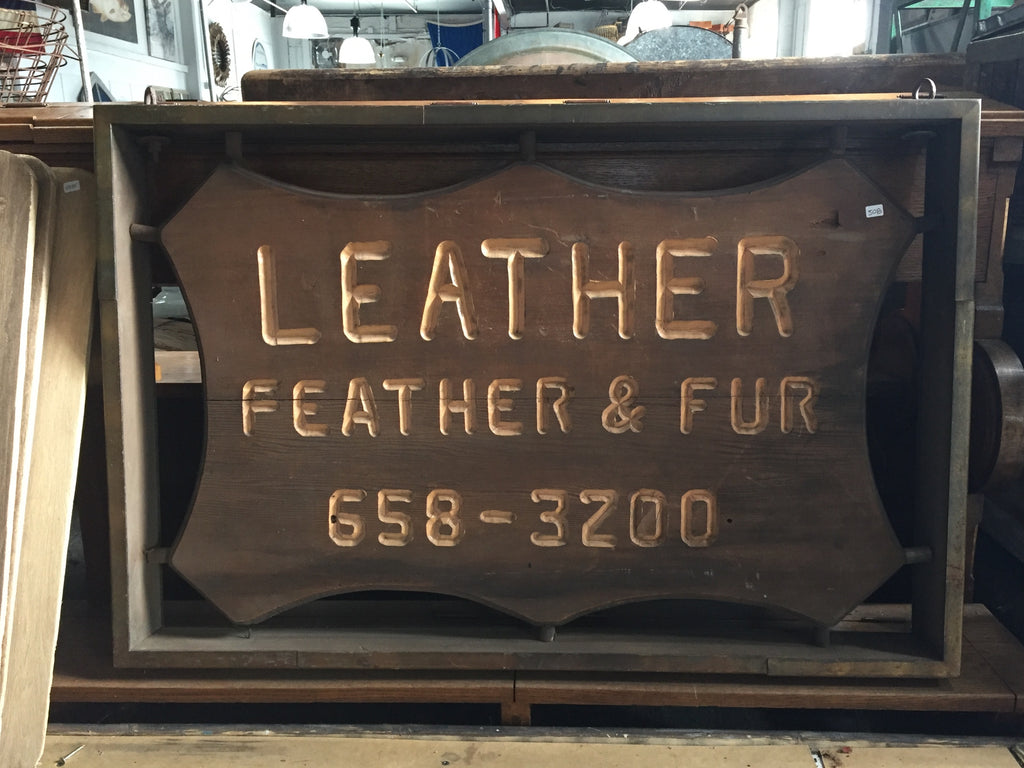 """LEATHER FEATHER & FUR"" Sign"