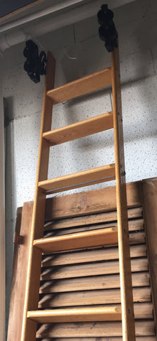 Wood Library Ladder on Wheels