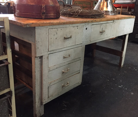 White Washed Wood Work Bench