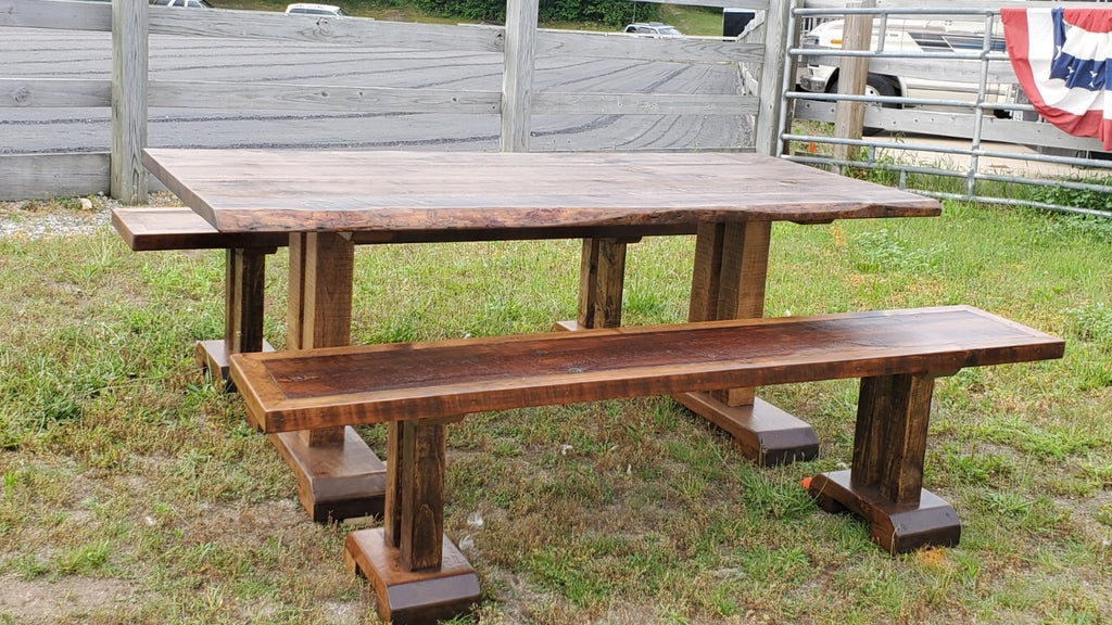 6 1/2' Wood Table with Benches