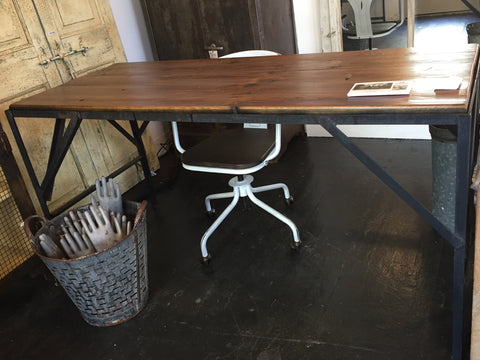 Wood Top Table/Desk with Black Industrial Metal Legs