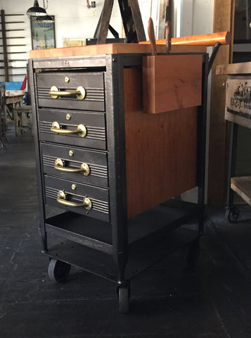 Butcher Block and Metal Rolling Cart with Locking Drawers