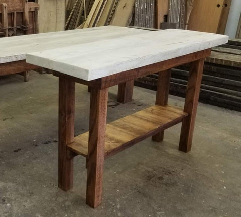 Wood Console Table with White Top