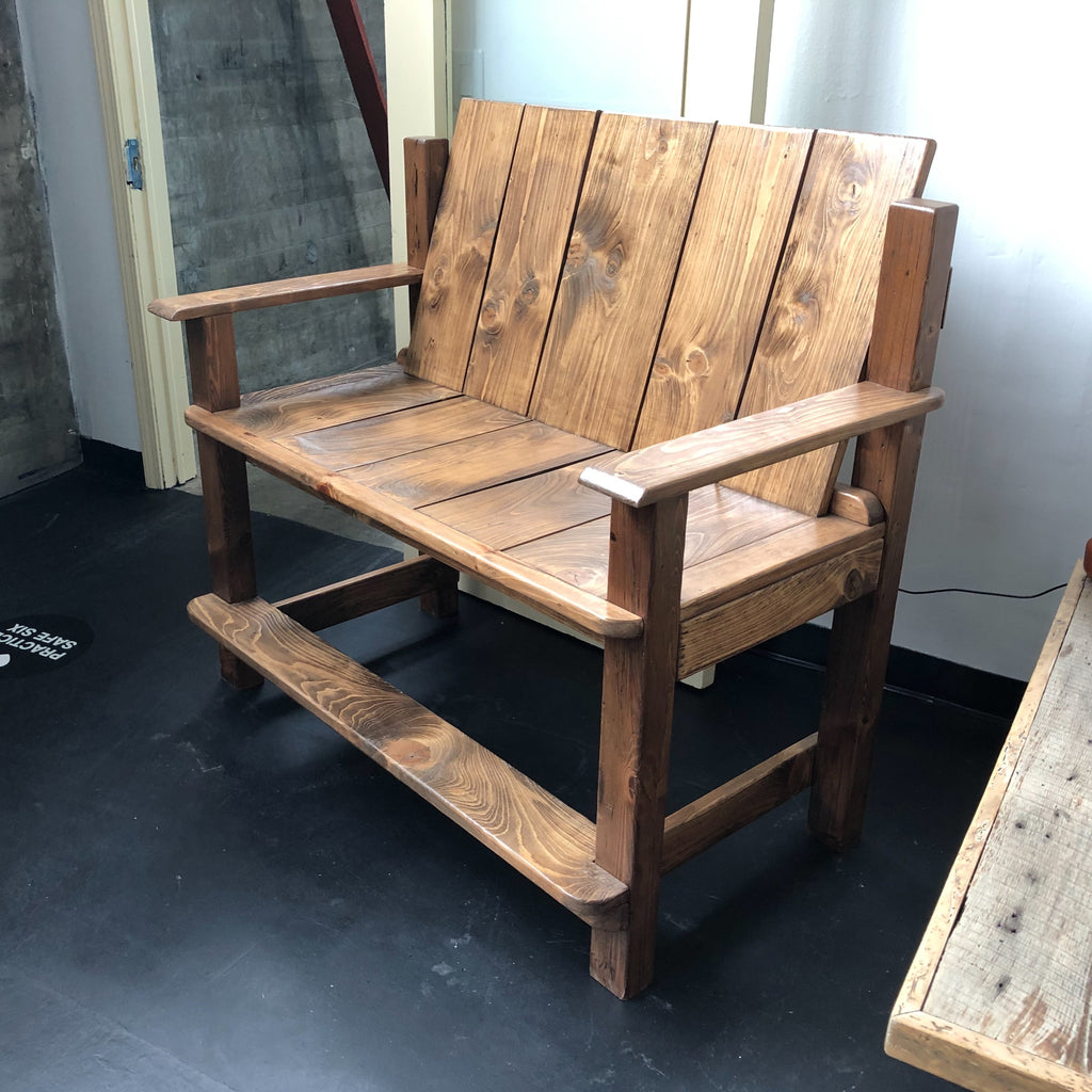 Porch Bench Made from Reclaimed Barn Wood