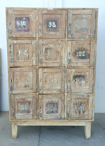 Wood Cabinet with Numbered Cubbies