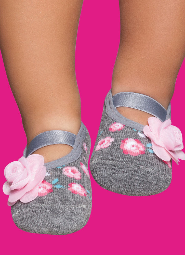 Mother & Daughter - Grey with Pink Flower - Non-Slip