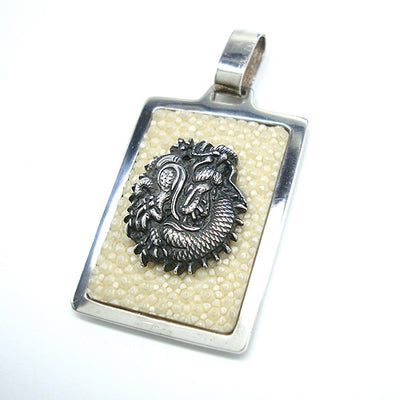 Silver Dragon Menuki with Samegawa Pendant