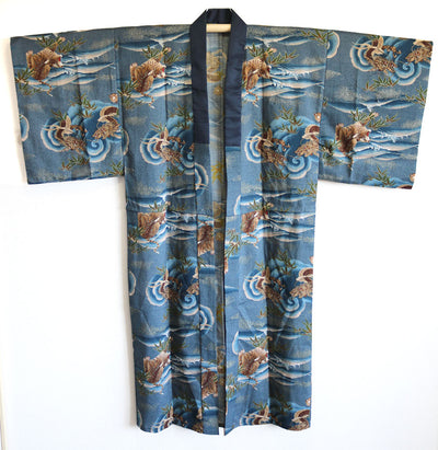 Antique Wool DRAGON & TIGER Design Juban Kimono