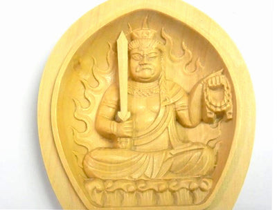 Portable Hand Carved Fudo Myo Statue Amulet