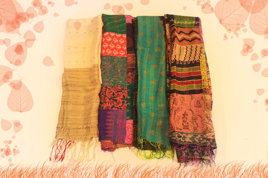 Pure Silk Hand-embroidered kantha stoles