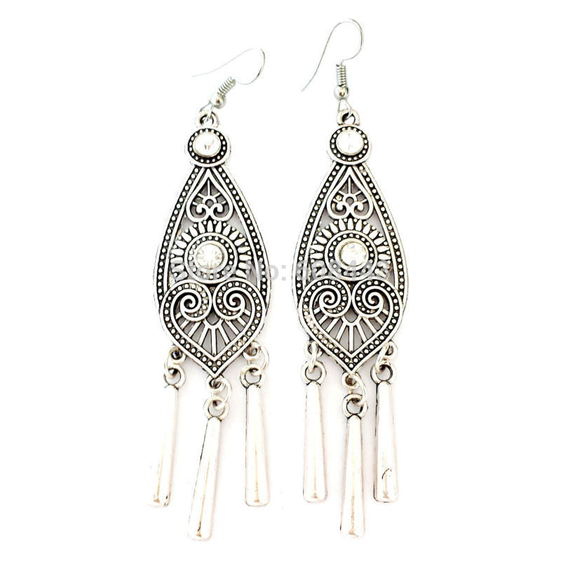 Ethnic Tibetan Silver Color  Geometric Long Earrings