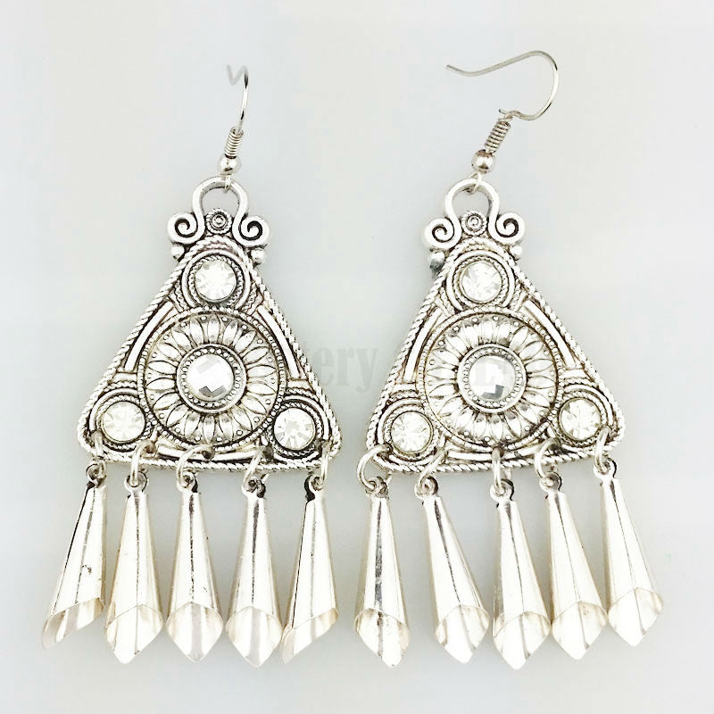 Ethnic Silver Color Tibetan Tribal Earrings