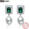 Emerald 925 sterling silver earrings Simulated Pearl Drop Earrings