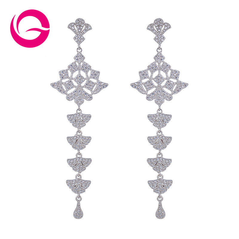 Silver Long CZ Dangle Drop Earring India Style